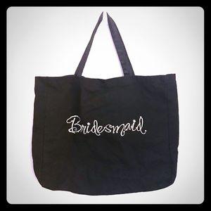 Handbags - Bridesmaid Stitched Black Embellished Canvas Tote